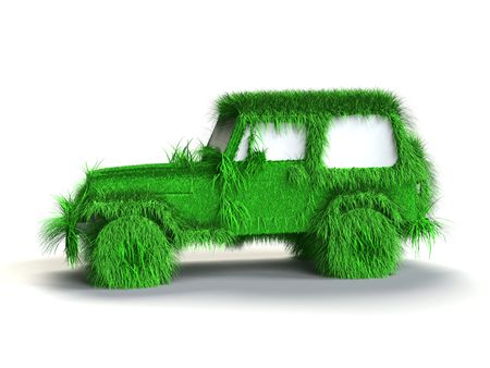 Ecologic green car with grass texture Stock Photo