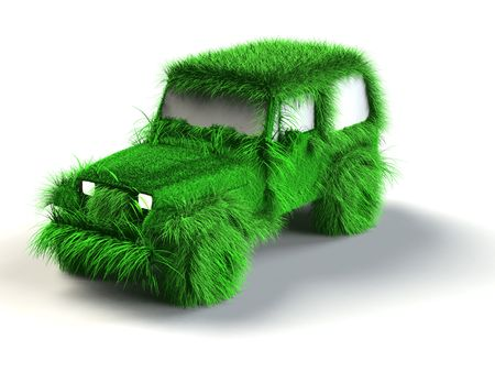 Ecologic green car with grass surface Stock Photo