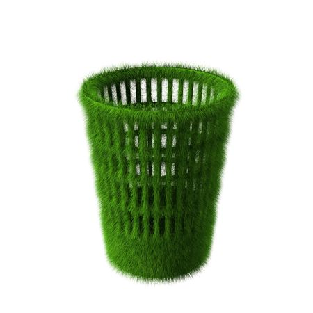 Concept of green transparent rendered bin with grass material on top Stock Photo