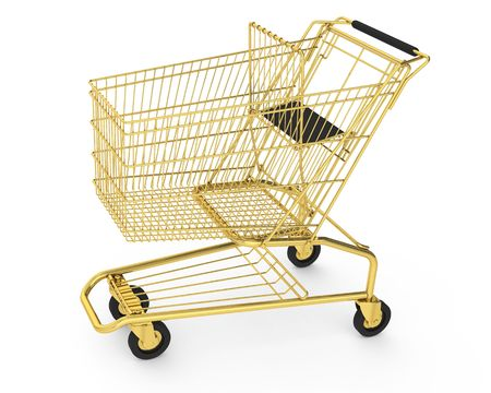 Rendered shopping cart made of gold photo