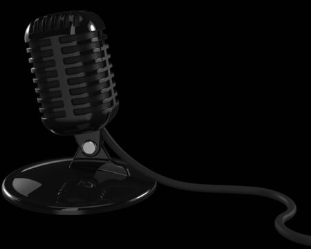 Generic Vintage Retro Microphone on a Black Background Stock Photo