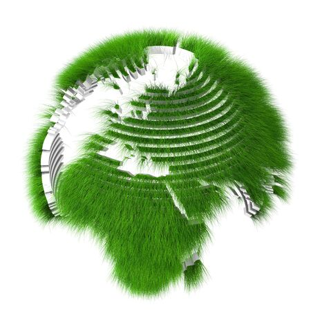 Rendered sliced earth globe covered with grass photo