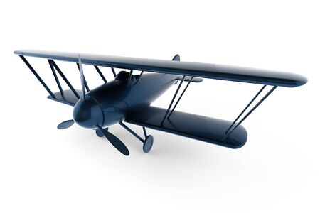 Rendered 3D white toy plane Stock Photo