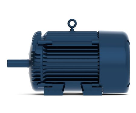 the motor: Rendered blue shiny electric motor Stock Photo