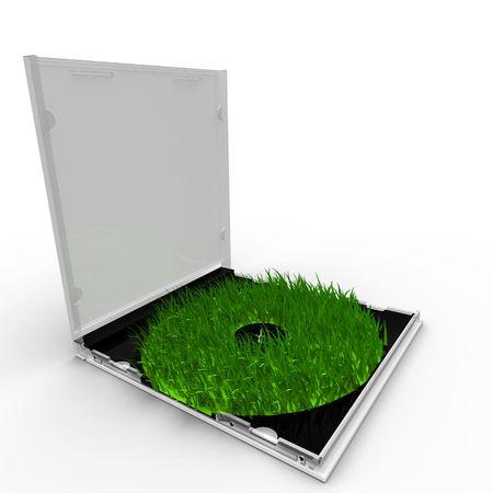 Gesmolten groene CD-doosje met gras in plaats van het