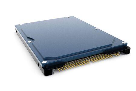 Rendered blue 3d computer hard disk drive