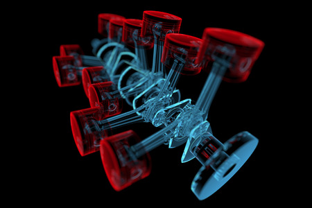 Crank shaft with pistons  3D xray red and blue transparent isolated on black background