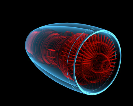 Turbo jet engine  3D xray red and blue transparent isolated on black background