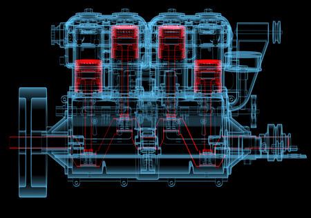 검은 배경에 고립 된 내부 연소 엔진의 3D 엑스레이 빨간색과 파란색 투명