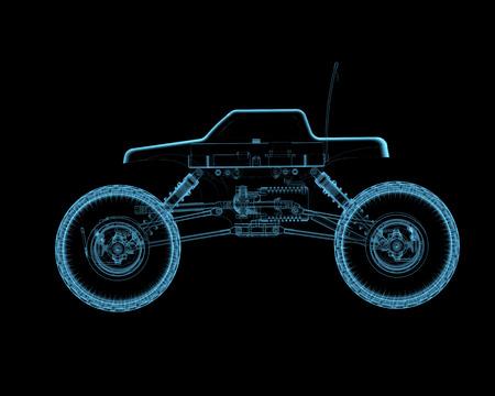 RC speelgoed auto 3D xray blauw transparant
