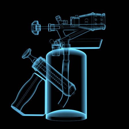 x ray equipment: Blow torch  3D xray blue transparent isolated on black background
