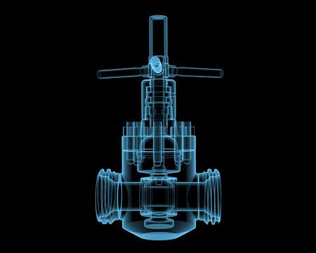 valves: Valve (3D x-ray blue transparent isolated on black) Stock Photo
