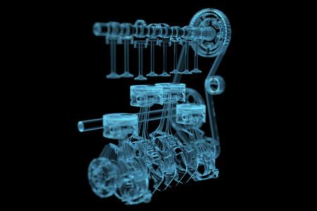 Engine 3D x-ray blauwe transparante geïsoleerd op zwart