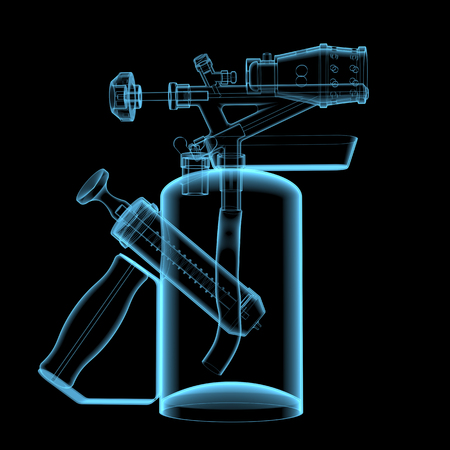 Blow torch  3D xray blue transparent isolated on black background