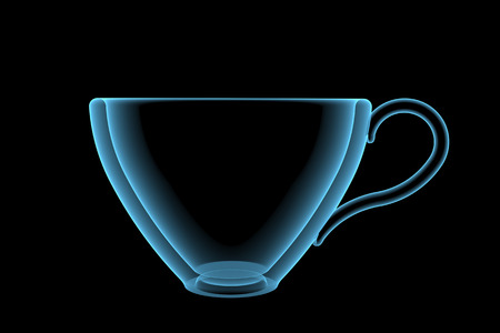 Empty cup  3D xray blue transparent isolated on black background