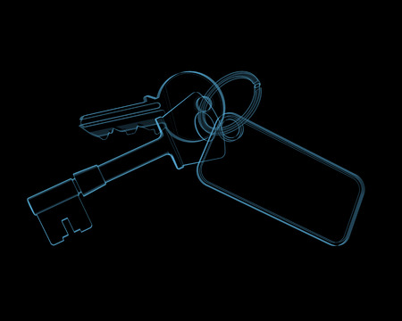 House keys  3D xray blue transparent isolated on black background