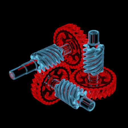 Gears 3D xray rood en blauw transparant geïsoleerd op zwart