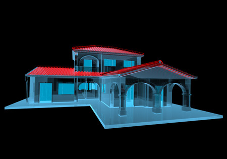 House  3D xray red and blue transparent isolated on black background  Stock Photo