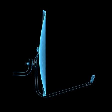 satelite: Satelite dish  3D xray blue transparent