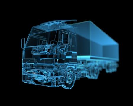 remolque: Camión de la radiografía 3D azul transparente Foto de archivo