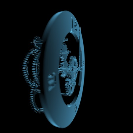 Clock  3D xray blue transparent  photo