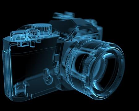 DSLR SLR camera  3D xray blue transparent  Stock Photo