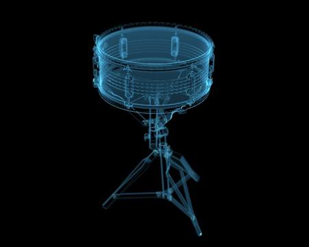 Drum  3D xray blue transparent  Stock Photo