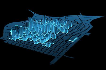 x ray image: Big City  3D xray blue transparent  Stock Photo