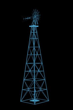 風車 3 D x 線ブルー透明