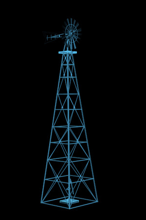 Windmill  3D xray blue transparent  Stock Photo