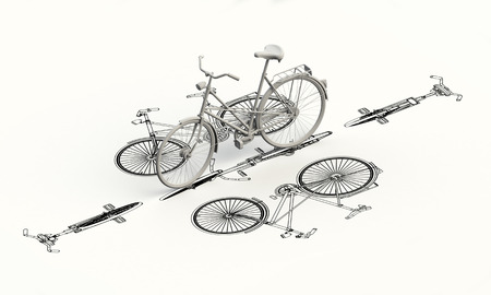 3d model: Bicycle plan with 3d model on top
