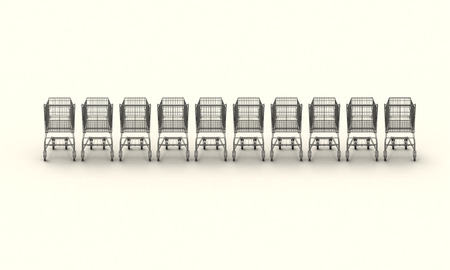 Row of 10 shopping carts, plans with 3d model on top photo