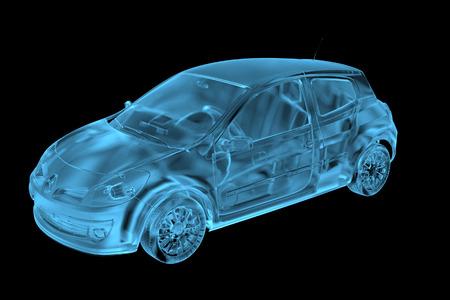 Car 3D xray blue transparent