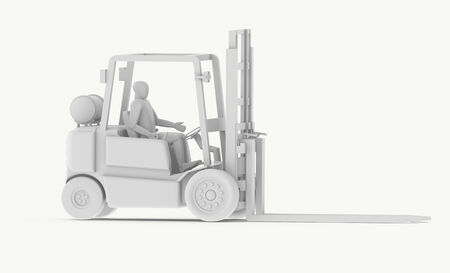 elevator operator: White Forklift with Operator Stock Photo