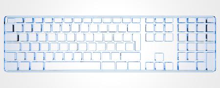 PC Keyboard  (3D xray blue transparent) photo