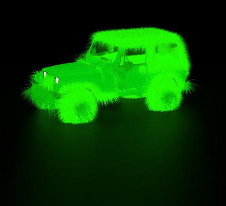 nonpolluting: Green furry toxic jeep Stock Photo