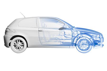 Auto - transparante blauw en zwart op wit wordt geïsoleerd