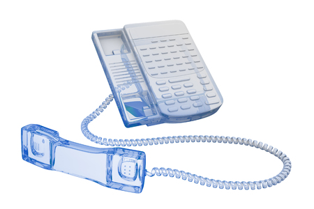 Office phone - transparent blue and black isolated on white