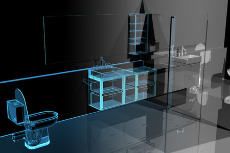 black bathroom: Modern bathroom (3D xray blue transparent)