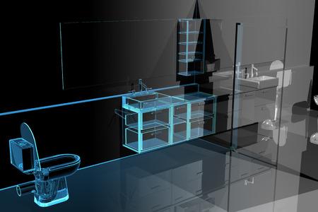 Moderne badkamer (3D xray blauw transparant)