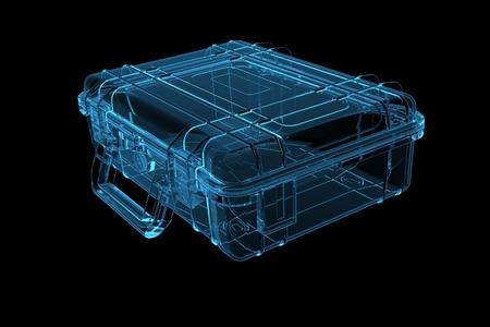 Koffer 3D teruggegeven xray blauwe transparant Stockfoto