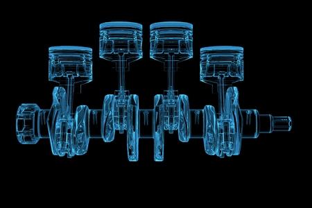 실린더 크랭크 차원 엑스레이 투명한 파랑