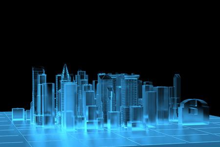 Città dei raggi X blu trasparente reso Archivio Fotografico - 26112610