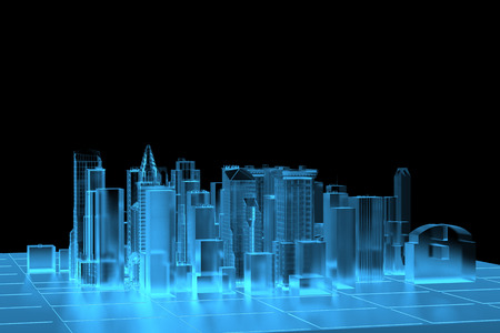 rendered: City Blue xray transparent rendered