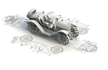 Retro car charts with 3d model on top photo