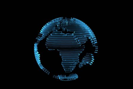 xray: Globe world map 3D rendered xray blue transparent Stock Photo