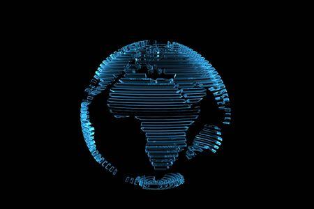 Wereldkaart van de bol 3D teruggegeven xray blauw transparante