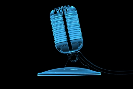 Old mircrophone 3D rendered xray blue transparent Stock Photo