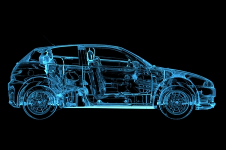 Car 3D rendered xray blue transparent photo