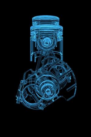 Cilinder crank 3D xray blauw transparant Stockfoto